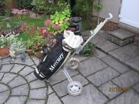 Mercury golf carring bag with stand and hood and golf trolley