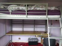 Loft double bed frame with desk. maxmizes bedroom space. As good as new with instructions.
