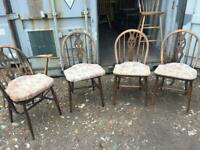 A GREAT LOOKING SET OF 4 ERCOL WHEELBACK DINING CHAIRS NICE PRE-LOVED CONDITION DELIVERY POSS