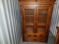 SOLID PINE GLAZED DRESSER TOP , DOORS /SHELVES AND SIX DRAWS NICE ITEM, LOCAL DELIVERY