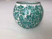 Lovely Glass Mosaic Candle / Tealight Holder in Very Good Condition
