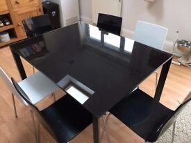 Habitat Black Glass Extendable Dining Table 120/180cm X 90cm. Extension Leaf.