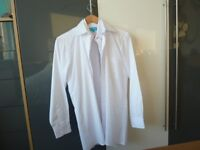 SMALL MENS / BOYS, NEW WHITE LONG SLEEVED SHIRTS 14 COLLAR