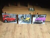 Set of three car/bicycle wall art /canvas