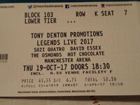 1 Ticket to see Legends Live Thursday 19th October Manchester Arena for Face Value
