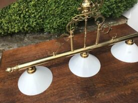 Triple ceiling light brass with white glass shades ideal for pool or dining table