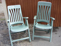 Two Green Adjustable High Back Garden Chairs