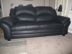 Brand New Black Leather 2 Seater Sofa, Absolute Bargain