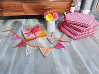 Kitchen accessories bundle Laura Ashley and Dunelm seat pads placemats bunting pink