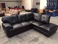 Brand new black leather corner sofa suite