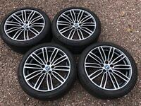 """Genuine 19"""" BMW M Sport 664M G30 G31 5 Series Staggered Alloy Wheels Grey Polish Pirelli Run Flats"""