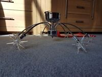 Chrome star ceiling light and table lamp