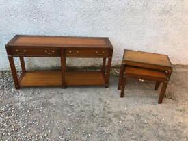 Brass bound mahogany nest of tables * free furniture delivery *
