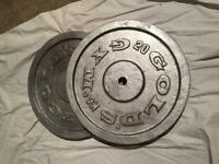 2x 20 kg weights plates cast iron