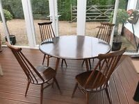 Original Ercol drop-leaf dining table & 4 chairs