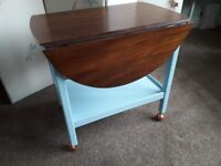 Vintage tea trolley with solid English walnut oval top with drop leaves - free delivery!