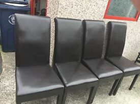4 x brown leatherette chairs