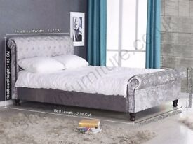 CRUSHED VELVET CUBE FABRIC SLEIGH BED NON STORAGE DOUBLE KING CHESTERFIELD