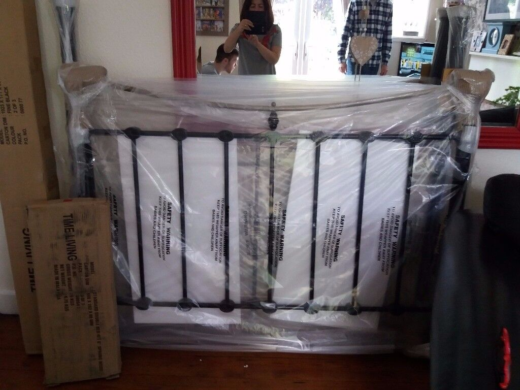 Brand New Metal Double Bed Black and Brass packaged.