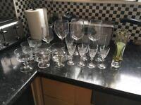 Gone stc. Glasses dessert dishes and glass vases