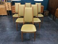 Set of 6 High Back Danish Dining Chairs in Teak by Nyrup Mobelfabrik. Retro Vintage Mid Century