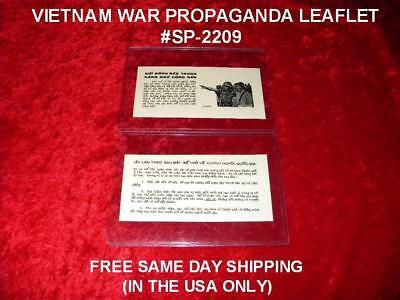 VIETNAM WAR ORIGINAL PROPAGANDA LEAFLET # SP-2209 FREE SAME DAY SHIPPING