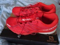 Mens UK 11 Salomon X-Series Red White Trainers Trail shoes US 11.5