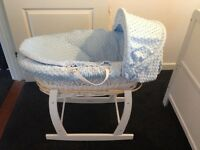 Blue bobble design, white wicker Moses basket come with white rocking stand