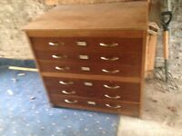 ARCHITECT'S PLAN CHEST - Classic wooden with 6 drawers - good condition