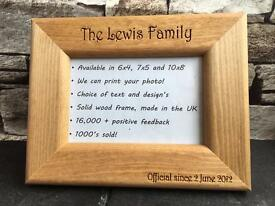 Photo frame engraved with your own message