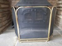 large fire screen in black and brass REDUCED