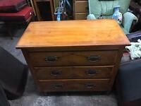 Fantastic vintage 3 drawer solid chest of drawers