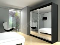 UP TO 75% OFF - BLACK WENGE WALNUT WHITE - BRAND NEW BERLIN FULL MIRROR SLIDING DOOR WARDROBE - WOW