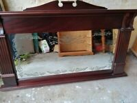 SOLID WOOD ANTIQUE LARGE MAHOGANY OVERMANTLE MIRROR