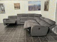 Luxury grey electric recliner corner sofa with USB port