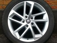 "17"" GENUINE SEAT LEON MK3 FR ALLOY WHEEL & 5.25mm TYRE FULL SIZE SPARE 5x112"