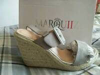 Size 6Tahira Espadrille Suedette Buckle Wedges