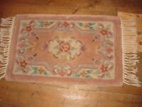 Chinese rug 31inch x 19inches approx beige/peach colour