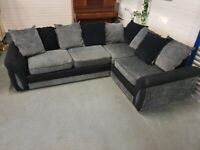 Nice Grey And Black DFS Corner Sofa + Free Delivery