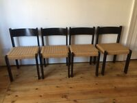 Danish Ebonised Dining Chairs Paper Cord Seats made in Denmark