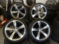 "SET OF GENUINE 19"" AUDI ROTORS WITH 4 GUD 255 35 19 TYRES WHEELS IN GUD COND NO CRACKS BUCKLES £750"