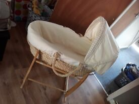 Baby bundle mosses basket clothes and lots more