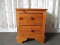 PINE TWO DRAWER CHEST OF DRAWERS BEDSIDE CHEST OF DRAWERS
