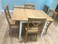 Oak kitchen / dining table 2 / 4 seater. 4 oak chairs