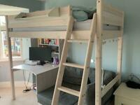 High sleeper with sofa bed and desk