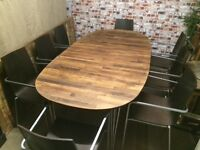 Beautiful Danish solid wood extendable dining table by Haslev and 10 modern chairs