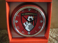AFC BOURNEMOUTH Football Quartz clock. New condition and supplied with battery.