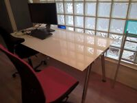 Glass office desk + swivel chair