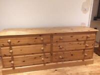 Solid waxed pine large chest of drawers