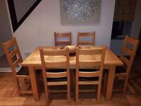 Quality solid oak table and 6 chairs